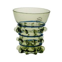 Glas med blå dekor, 8 cm