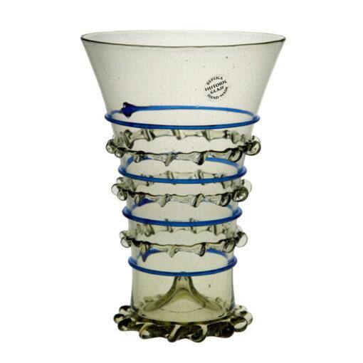 Glas med blå dekor, 14,5 cm
