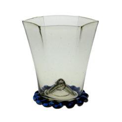 6-kantigt glas med blå fot