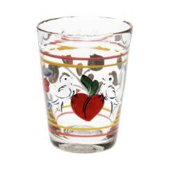 Litet målat glas med hjärta & fåglar