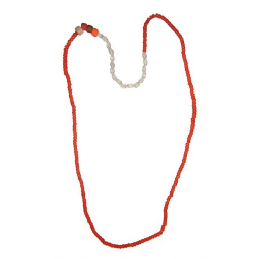 Halsband, rött/vitt glas, vikingatid