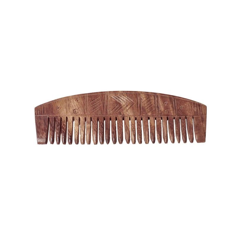 Vikingakam av trä, böjd rygg