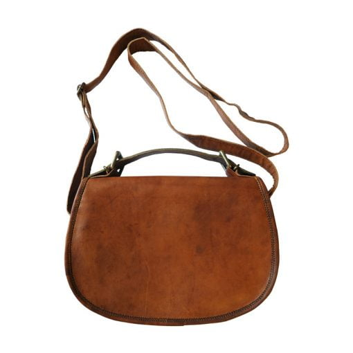 Väska av läder, rund modell