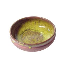 Liten keramikskål, gul glasyr