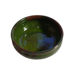 Keramikskål, liten, grön glasyr