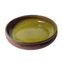 Stor keramikskål, gul glasyr