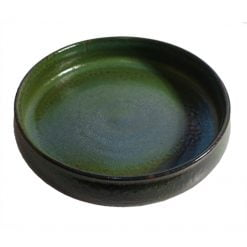 Keramikskål, stor, grön glasyr