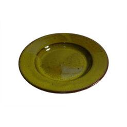 Keramiktallrik, liten, gul glasyr