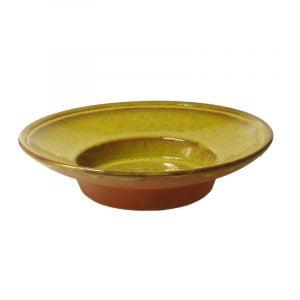 Stor och djup keramiktallrik, gul glasyr