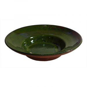 Keramiktallrik, stor djup, grön glasyr