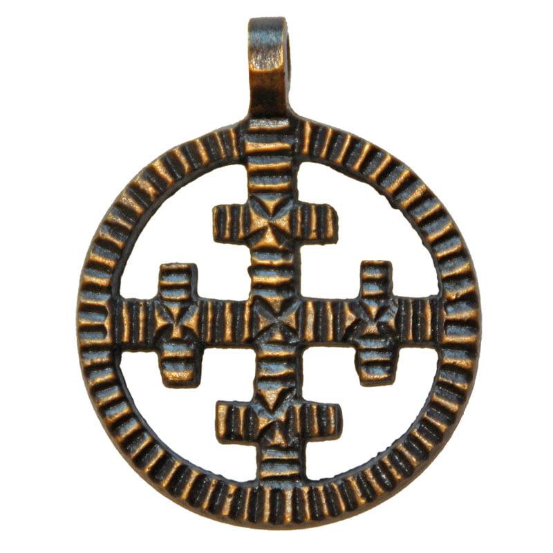 Rund amulett med korsat kors